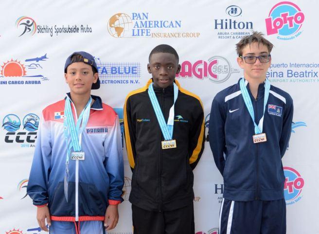 boys 11-12 200 metre breaststroke medal podium